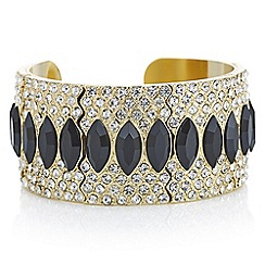 Mood - Black crystal ornate cuff bracelet