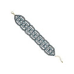 Mood - Teal crystal diamante cut out bracelet