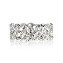 Mood - Silver crystal cut out navette bracelet