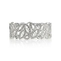 Mood - Silver crystal cut out navette bracelet