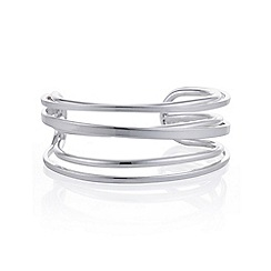 Mood - Silver cross over cuff bracelet