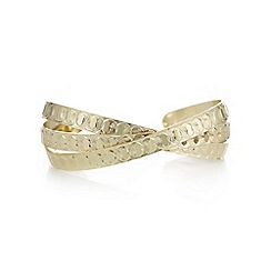 Mood - Textured gold cross over cuff