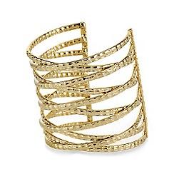 Mood - Gold textured large metal cuff bracelet