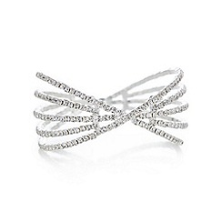Mood - Silver crystal diamante cross over cuff