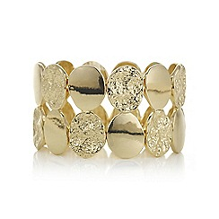 Mood - Gold textured oval stretch bracelet