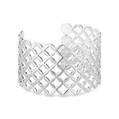 Mood - Silver lattice cut out cuff bracelet