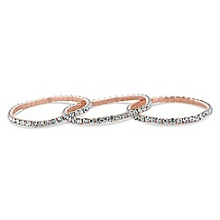 Mood - Rose gold diamante bracelet set