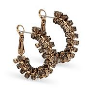 Gold twisted crystal set hoop earring