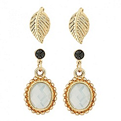 Butterfly by Matthew Williamson - Designer gold leaf and stone drop earring set