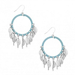 Butterfly by Matthew Williamson - Designer blue thread and leaf hoop earring