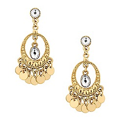 Butterfly by Matthew Williamson - Designer crystal and gold disc drop earring