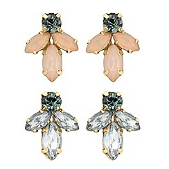 Butterfly by Matthew Williamson - Designer set of two navette cluster stud earrings