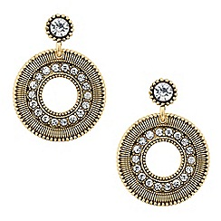 Butterfly by Matthew Williamson - Designer gold crystal disc drop earring