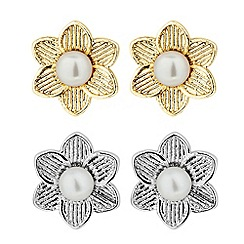 Butterfly by Matthew Williamson - Designer set of two pearl flower stud earrings