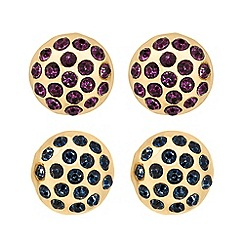 Butterfly by Matthew Williamson - Designer set of two round crystal stud earrings