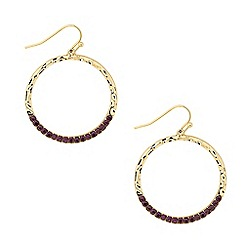 Butterfly by Matthew Williamson - Designer purple crystal textured hoop earring