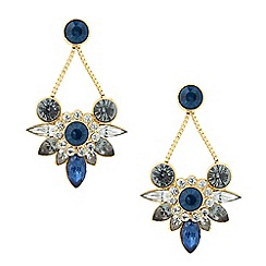 Butterfly by Matthew Williamson - Designer blue mixed cluster drop earring