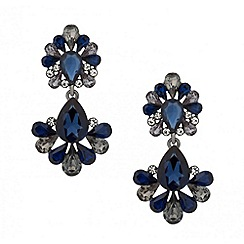 Butterfly by Matthew Williamson - Designer blue and grey crystal peardrop earring