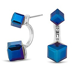 Butterfly by Matthew Williamson - Designer blue cube double front drop earring