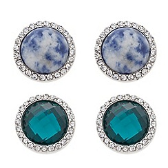 Butterfly by Matthew Williamson - Designer green and blue stud earring set