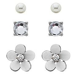 Butterfly by Matthew Williamson - Shell crystal flower trio earring pack