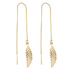Butterfly by Matthew Williamson - Designer gold feather chain thread through earring
