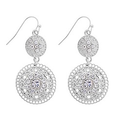 Butterfly by Matthew Williamson - Designer double filigree silver coin drop earring