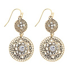 Butterfly by Matthew Williamson - Designer double filigree gold coin drop earring