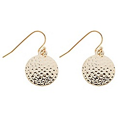 Butterfly by Matthew Williamson - Designer textured gold coin drop earring