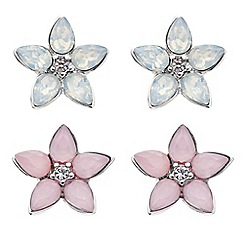 Butterfly by Matthew Williamson - Designer opalesque flower stud earring set