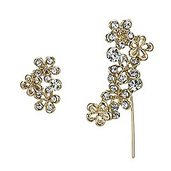 Butterfly by Matthew Williamson - Gold crystal flower drop earring