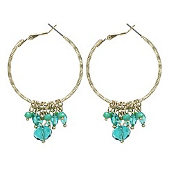 Butterfly by Matthew Williamson - Green beaded drop hoop earring