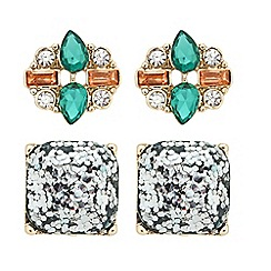 Butterfly by Matthew Williamson - Designer glitter and crystal stud earring set