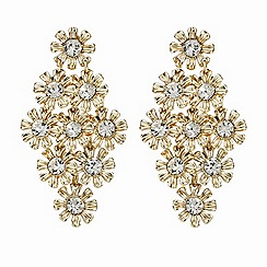 Butterfly by Matthew Williamson - Gold crystal flower earring set