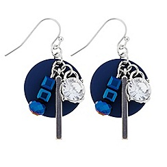 Butterfly by Matthew Williamson - Designer blue beaded disc charm drop earing