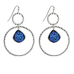 Butterfly by Matthew Williamson - Designer Blue floating stone double ring drop earring