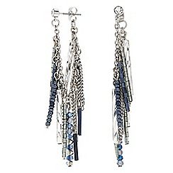 Butterfly by Matthew Williamson - Designer Blue beaded chain front and back earring