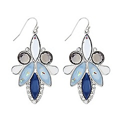 Butterfly by Matthew Williamson - Designer Blue glitter cluster stone drop earring