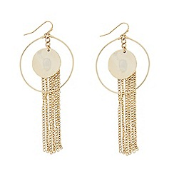 Butterfly by Matthew Williamson - Designer Gold hammered disc and tassel drop earring