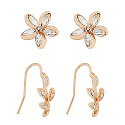 Butterfly by Matthew Williamson - Designer Rose gold flower and leaf earring pack