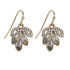 Butterfly by Matthew Williamson - Designer Gold crystal leaf drop earring