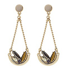 Butterfly by Matthew Williamson - Designer Gold cluster stone hanging drop earring