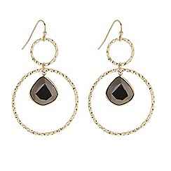 Butterfly by Matthew Williamson - Designer Grey floating stone double ring drop earring