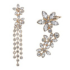 Butterfly by Matthew Williamson - Designer Floral ear cuff and stud crystal earring set