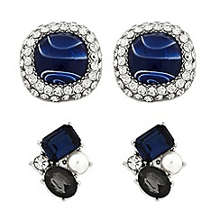 Butterfly by Matthew Williamson - Designer Set of two blue stone stud earring