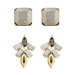 Butterfly by Matthew Williamson - Designer Grey stone cluster set of two earrings