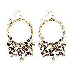 Butterfly by Matthew Williamson - Designer gold beaded hoop drop earring