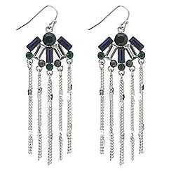 Butterfly by Matthew Williamson - Designer green and blue crystal tassel drop earring