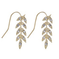 Butterfly by Matthew Williamson - Designer gold crystal leaf earring