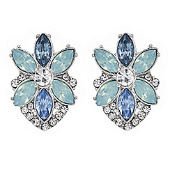 Butterfly by Matthew Williamson - Designer tonal blue floral stud earring